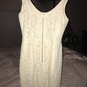 Off white lace zip down dress